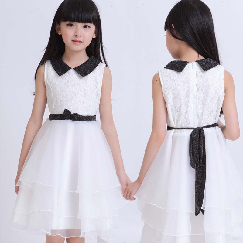 White organza black collar teenage big girls Princess Dress up to size 160 170 Korean style age 12 13 14 15 16 years old(China (Mainland))