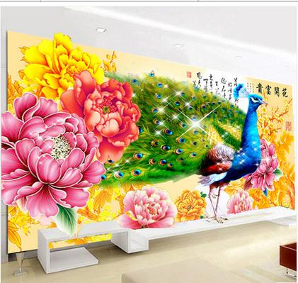 diy 5d magic cube round diamond painting blooping rich peacock peony cross stitch patchwork for home decoration diy picture(China (Mainland))