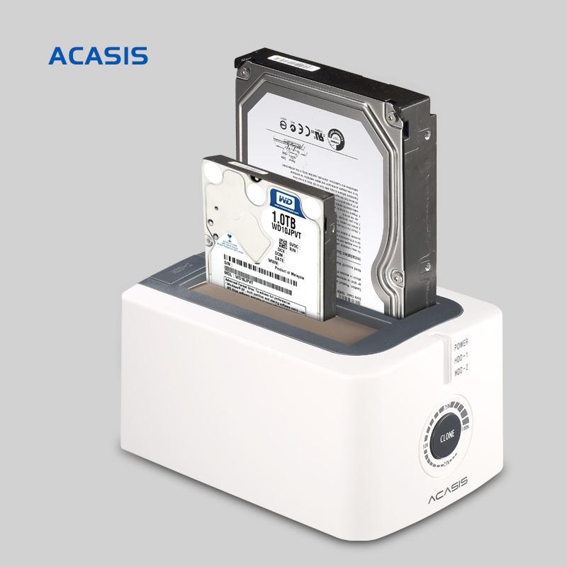 10072TW Acasis BA-12US 3.5-Inch SATA USB3.0 Dual Hard Drive HDD Docking Station Hard Disk Offline Cloning Duplicator Box(China (Mainland))