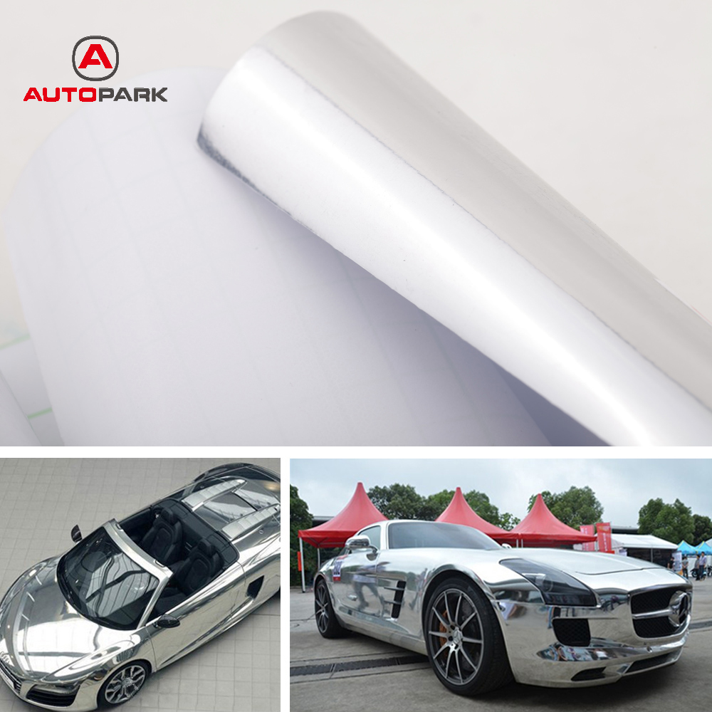 Car mirror sticker design - Car Styling 12inch 60inch Chrome Mirror Silver Vinyl Sticker Decal Film Sheet Self Adhesive