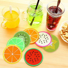 Colorful Cute Silicone Fruits Coaster  Novelty Cup Cushion Holder Home Dining Room Decor Drink Placement Mat 7 Styles(China (Mainland))