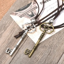 2016 new arrival fashion long leather key pendant vintage necklace women men jewelry leather rope necklaces