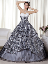 2016 New Ball Gown Zebra Print Teens Prom Dresses Sweetheart Black And White Princess Corset Prom Gowns qd6451(China (Mainland))