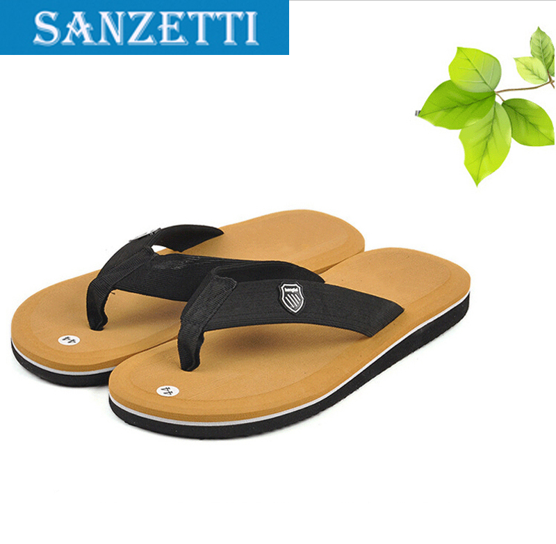 Free shipping NEW 2015 Famous Brand Casual Man sandals Slippers Summer Shoes Beach flip flop Size 40-44 4color Sanzetti(China (Mainland))