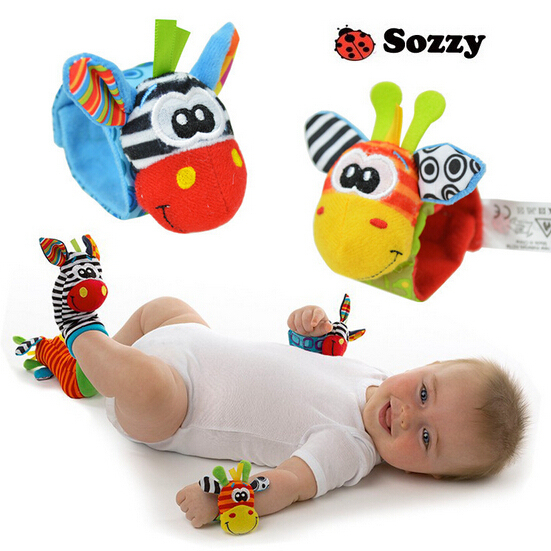 2pcs/set Baby Rattles Soft Plush Toy Wrist Band Watch Band Bed Bells/Baby Hand Bells/Infant Appease Toys/Newbron Gift #F