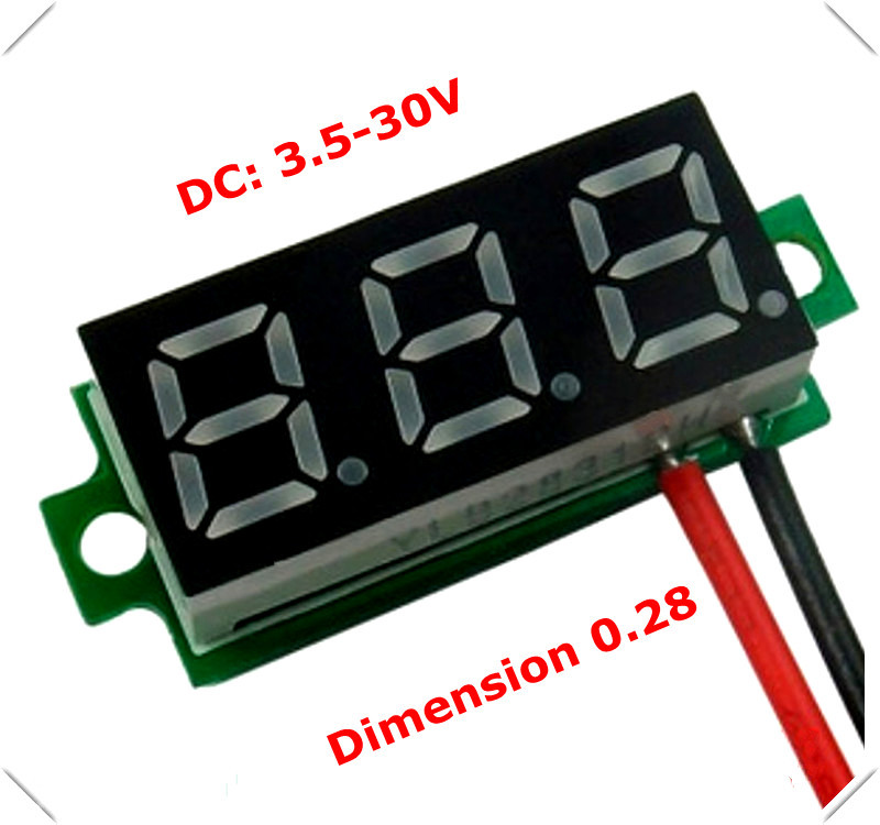 RD 0.28 inch Mini Digital Voltmeter dc 3.50-30V 2 wires Vehicles Motor Voltage Panel Meter led Display Color:Red [ 10 pieces / lot] - official store