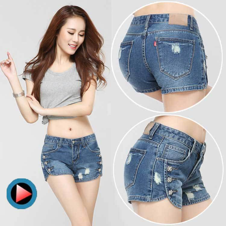Korean loose hole denim shorts female summer tide thin section large size was thin denim shorts female models mm hole in the pan(China (Mainland))
