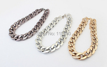 Vintage Silver Gold Rose gold Chunky Chain Necklace For Women Long Chian CCB Plastic Collar Necklace