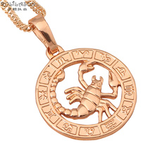 12 Constellation Round Scorpio design glittering Necklace 18K yellow gold plated Fashion Jewelry Necklace & Pendants LN453
