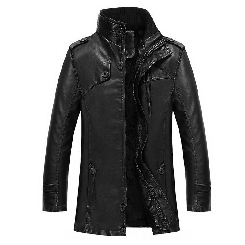 2016 Winter Style Leather Jackets Trench Coats Name Brand Men's Leather PU Long Zipper Men Overcoats 4XL For Winter New S1719(China (Mainland))
