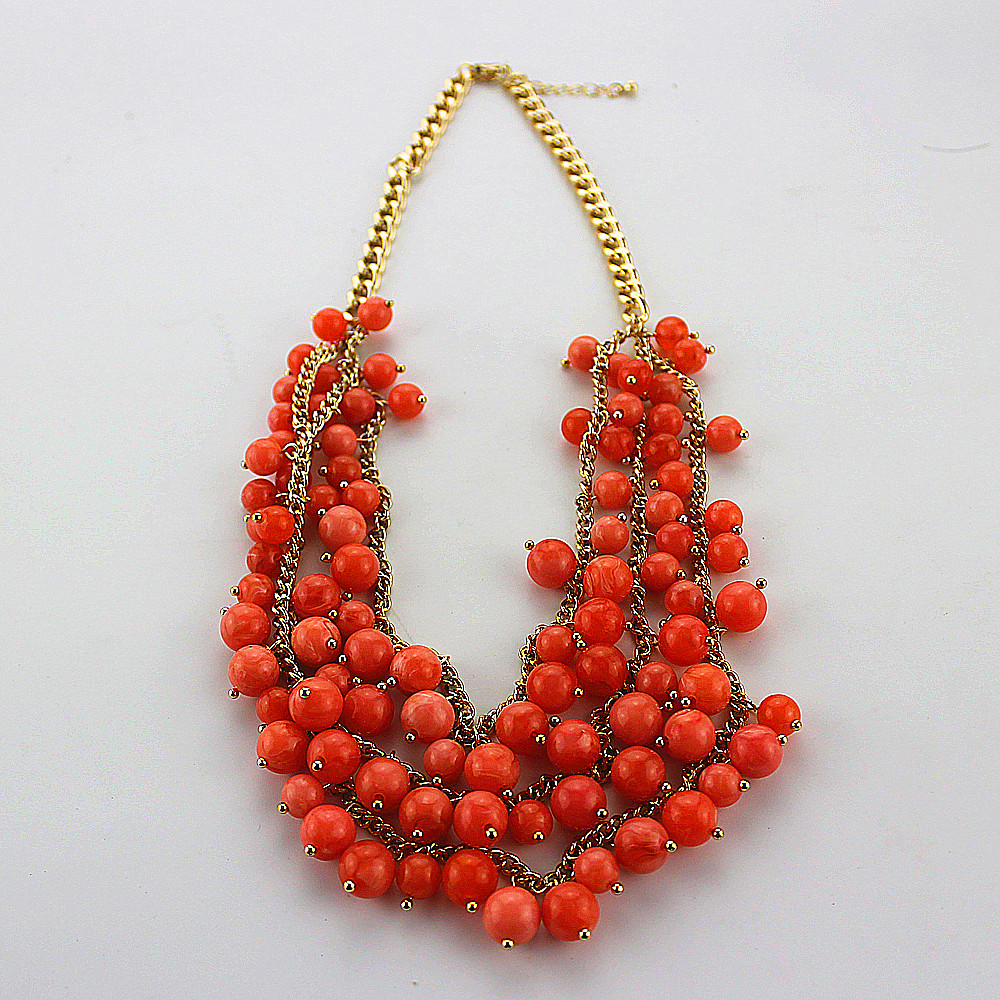 Free shipping fashion jewelry Ms orange acrylic multilayer banquet gold necklace(China (Mainland))