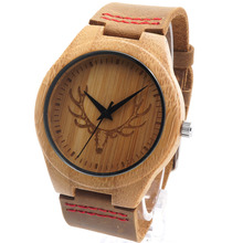 Bobobird RT0459 Mens Deer Head Design Buck Bamboo Wooden Watches Luxury Wooden Bamboo Watches With Leather Quartz Watch