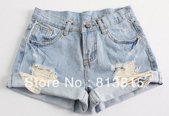 Ripped Denim Shorts High Waisted - The Else