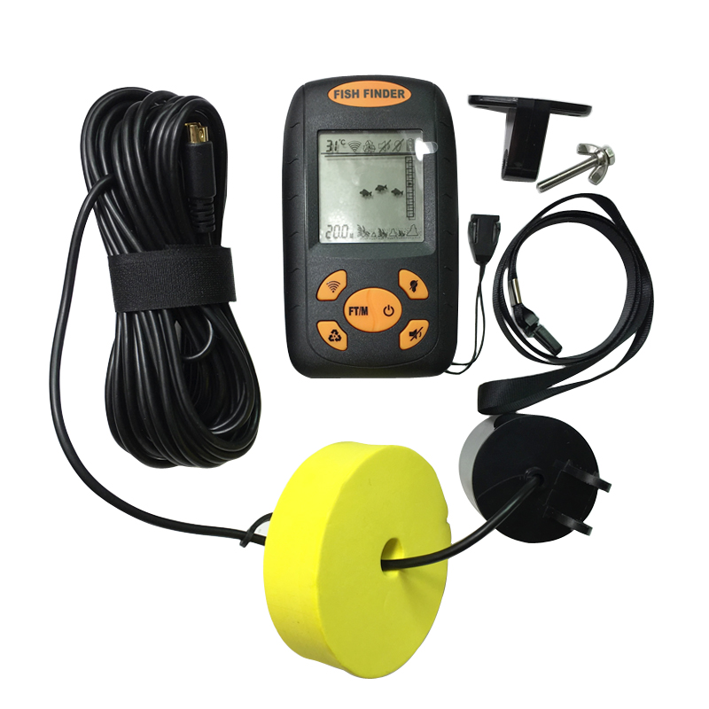 Portable Fish Finder Sonar Sounder Alarm Transducer Fishfinder 0.7-100m fishing echo sounder with Battery with English Display(China (Mainland))