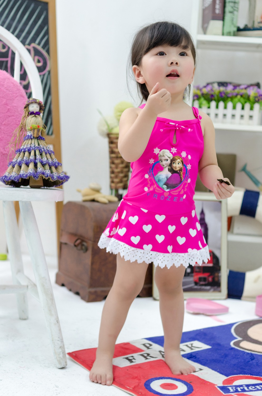 2016 summer  new arrival  hot pink heart-shaped sleeveless one piece swimwear for kids swimsurt   SW184 10pcs/lot DHL free