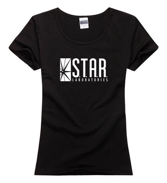 Women lady American Drama The Flash T Shirts Star Laboratories Tshirts Gotham City Comic tee TV Star Labs top T-shirts Clothing(China (Mainland))