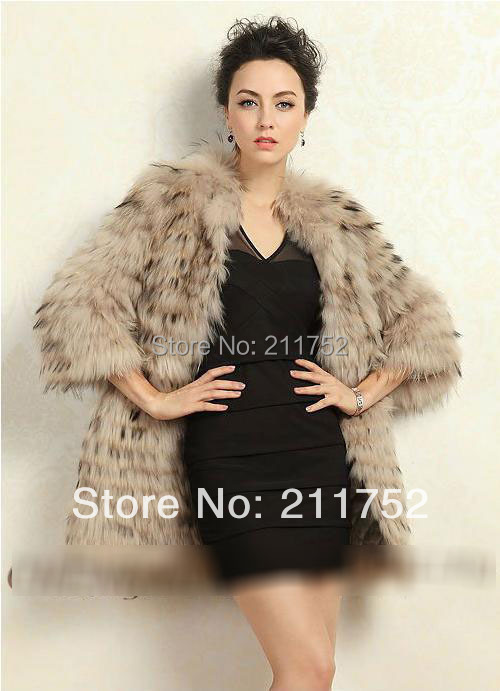 2014 100% raccoon dog fur jacket Natural Fur coat - Qiuchen Factory Outlets store