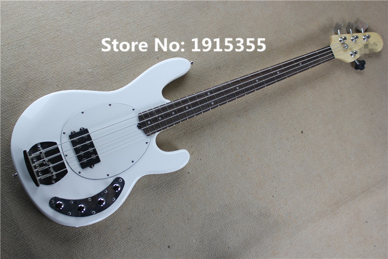 Musical instruments factory custom white body 21 frets 4 strings electric bass guitar with white pickguard,can be changed(China (Mainland))