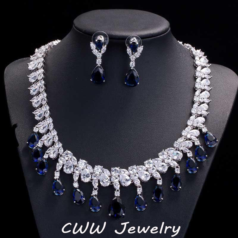 Gorgeous Rayal Blue Cubic Zircon Diamond Engagement Bridal Earrings And Necklace Sets For Wedding Jewelry (T125)<br><br>Aliexpress