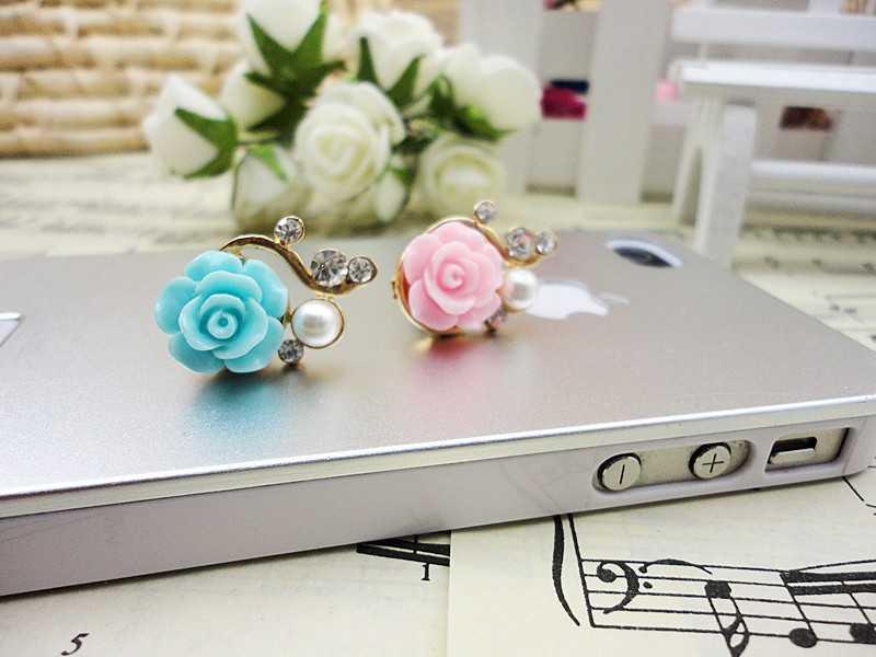 3pcs/lot High Quality Pearl Rose Dust Plug for Phone Romantic Diamond Flower Pluggy Headphone Jack Prevent Dust from Entering(China (Mainland))