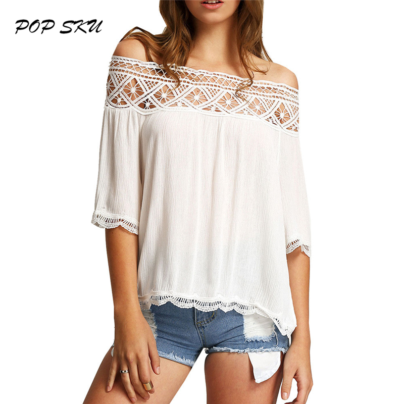Ladies Solid Blouse Off The Shoulder LACE Women's Smock Top Sexy Brief Ruffles Girl's Fashion Shirt NEW(China (Mainland))