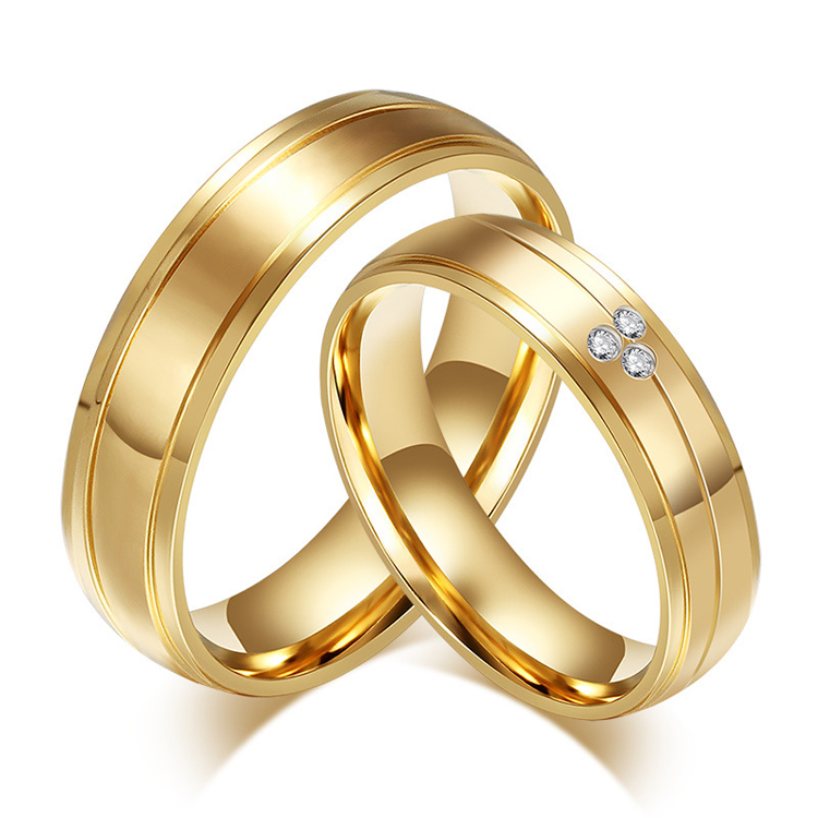 alibaba express real 18k gold plated jewelry wedding rings china supplier stainless steel couple wedding bands for man woman(China (Mainland))