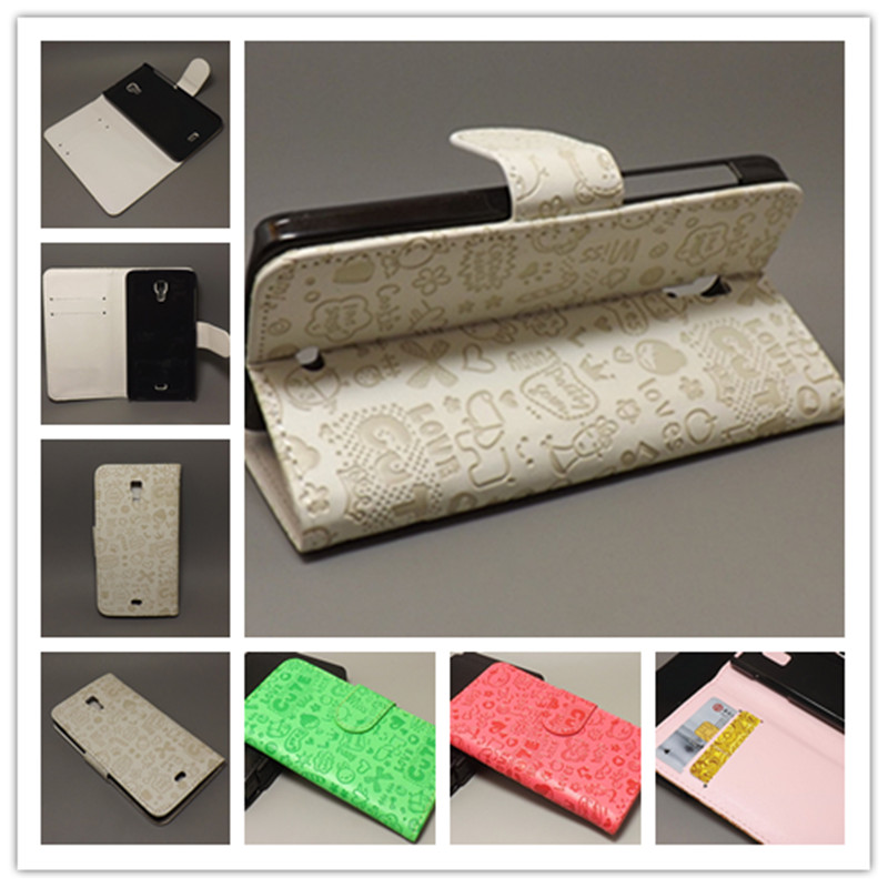Magic Girl stand Leather Case with 2 Card Holder and pouch slot for Explay Vegafree shipping(China (Mainland))