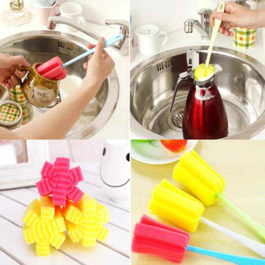 Kitchen household Cleaning Tools Sponge Cleaning Brush For Wineglass Bottle Coffe Tea Glass Cup Mug pink yellow Random Colors(China (Mainland))
