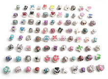 Free shipping 50pcs mix color oil-drip beads fit European Pandora bracelet DIY(China (Mainland))