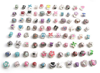 Free shipping 50pcs mix color oil-drip beads fit European Pandora bracelet DIY
