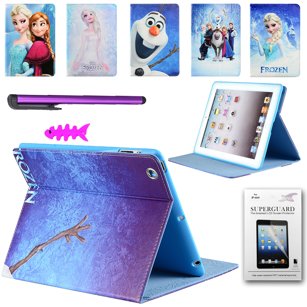 3D Cartoon family of Elsa+Anna+Olaf PU Leather case For Apple iPad 2 3 4 (9.7 inch) Tablet Protect shell<br><br>Aliexpress