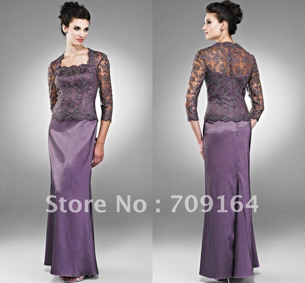 FM246 Elegant Long Sleeve Jacket A Line Satin Purple Mother Dress Wedding In Mother Of The Bride