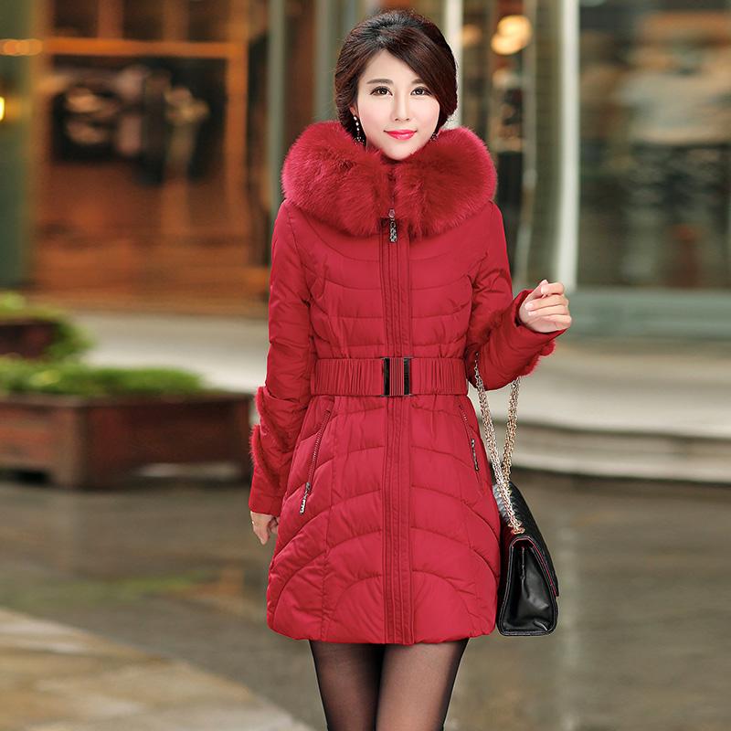 2015 New Plus Size Jacket Women Winter Coats Fur Hooded Slim Long Duck Parka Fashion Outwear Jackets Large size