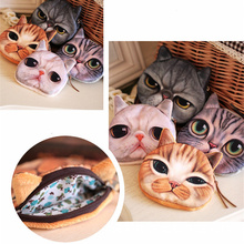 Fashion Cute cartoon Cat Head Girl Wallet Coin Purse Key Wallets Makeup Bag Holder for Money