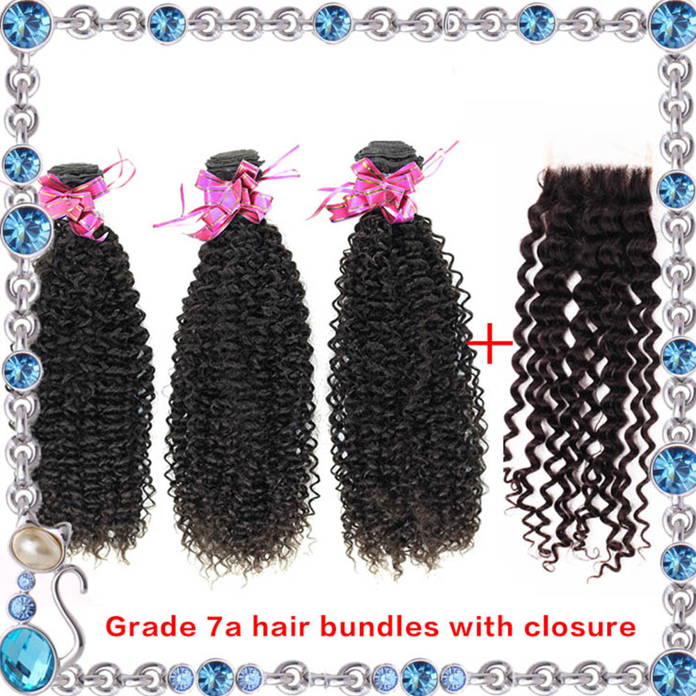 Brazilian Kinky Curly Virgin Hair With Closure 7A Brizilian Wavy Hair 8-24 Inches 3 Bundles With Lace Closure Curly Human Hair<br><br>Aliexpress