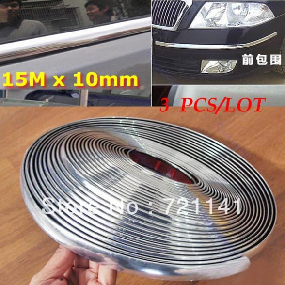 3pcs/lot 15M 10mm Car Auto Chrome DIY Moulding Trim Strip For Window Bumper Grille Silver Y106(China (Mainland))