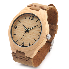 Wooden Watches With Genuine Cowhide Leather