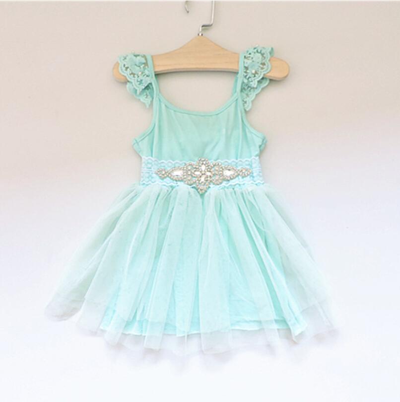 New Hot Children Kids Lace Beading Puff Sleeve Dresses Summer, Princess Girls Sweet Mesh Party Wear 5 pcs/lot,Wholesale(China (Mainland))