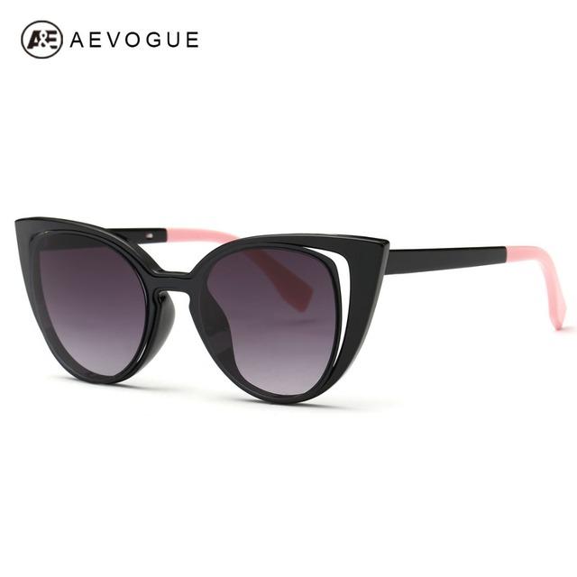 Aevogue очки женщин 2016 последним колющими храма металлические петли кошачий глаз солнцезащитные очки модной UV400 AE0344