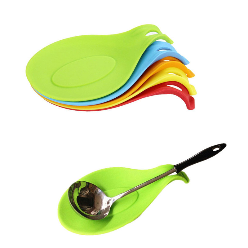Attractive 1Pc Silicone Spoon Insulation Mat Placemat Drink Glass Coaster Tray Free shipping 70976