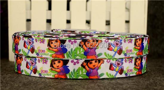 """7 / 8 """"22mm Dora Characters Printed Grosgrain Ribbon 10 Yard Free Shipping 2(China (Mainland))"""