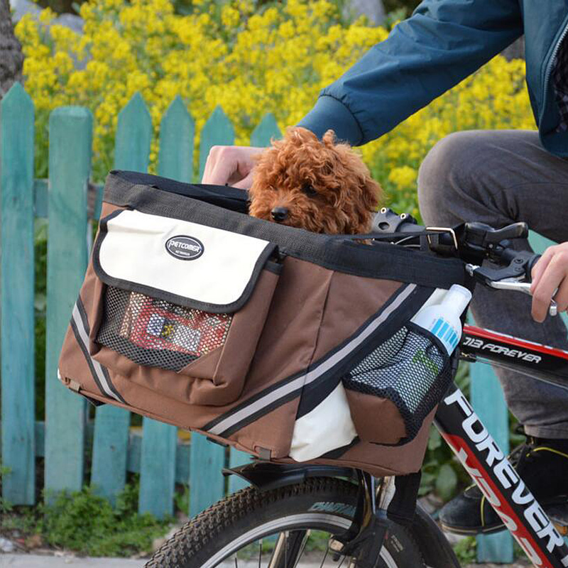 2016 Hot Selling Safe Bike Dog Bags Comfort Carrier for Cats Outdoor Travel Pet Carriers Bicycle Removable Basket(China (Mainland))