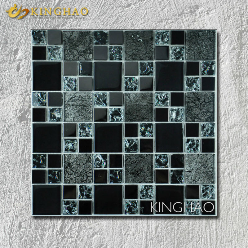 [KINGHAO]  black crystal glass electroplate mosaic tiles KF4832 backsplash kitchen wall tile sticker bathroom floor tile<br><br>Aliexpress