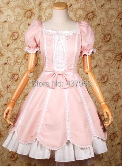 New Cute Women Ladies Pink Cotton Bow Short Sleeves Sweet Ruffles Lolita Dress Stage Cos Custom Made