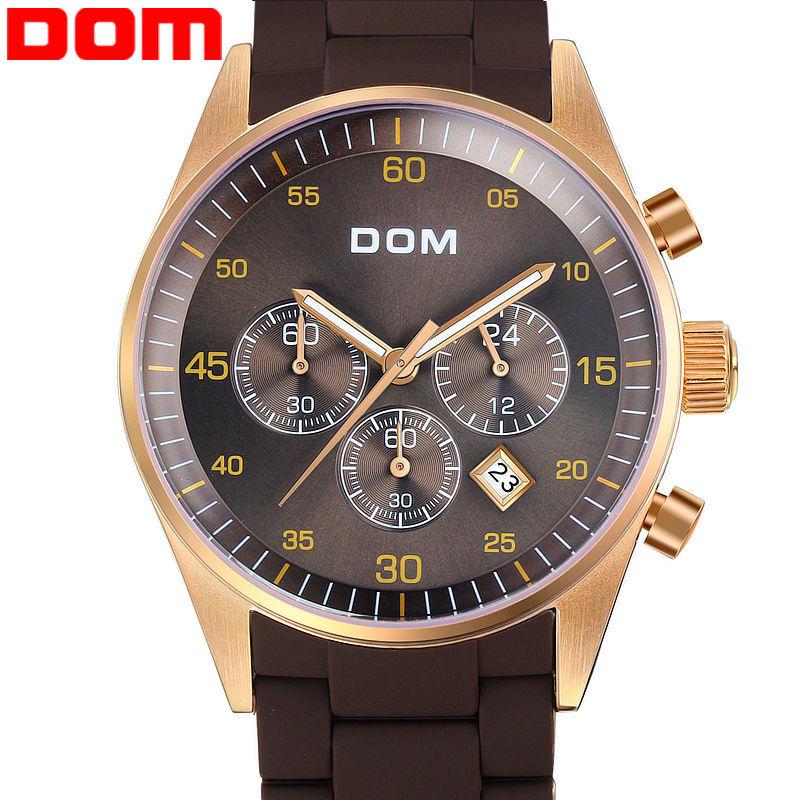 original Switzerland DOM men sports watches black waterproof watches men luxury brand large dial male quartz watch wristwatches(China (Mainland))