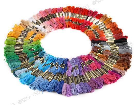 Free shipping! Wholesale 50 random color pieces DMC threads / Similar DMC Thread Floss Skein Cross Stitch Thread(China (Mainland))