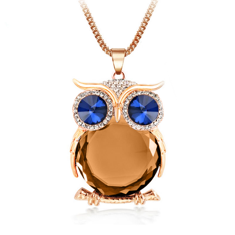 4 Colors Owl Necklace Box Chain Crystal Gold Plated Pendant Necklaces Trendy Statement Necklace Animal Jewelry For Women Gift