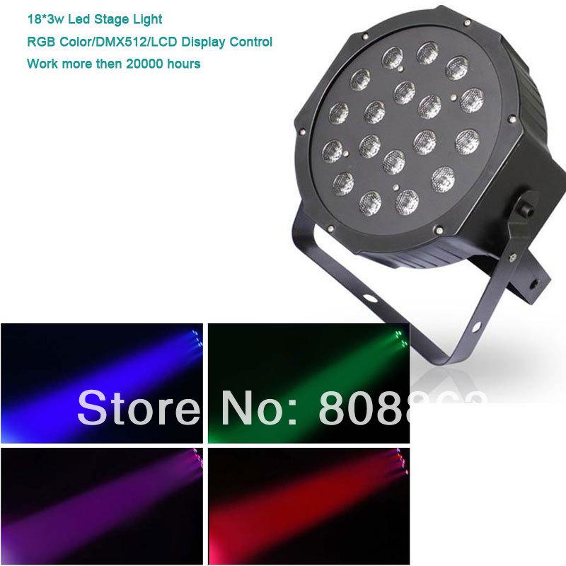 new model 18*3W High quality RGB DMX512 LCD Master/Slave Par Dance bar party DJ Led stage Light d100 Free shipping(China (Mainland))