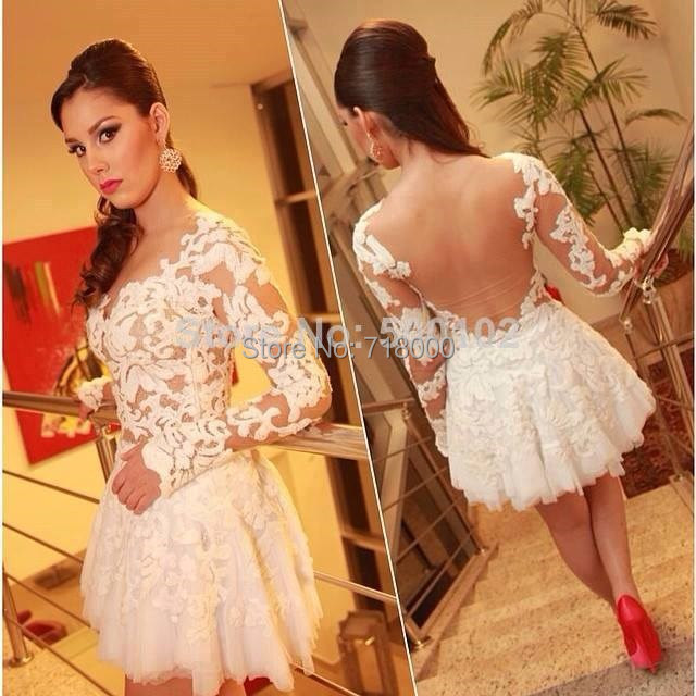 2015 Short Prom Dresses long sleeves party Dress sheer Back formal evening gown Custom Made - Lucky-star wedding dress store