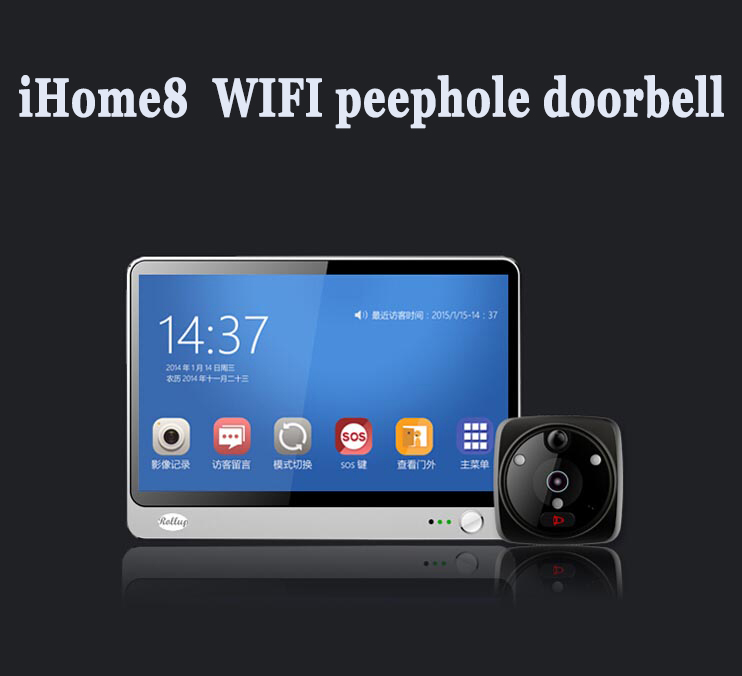 New Launched Rollup iHome 8 Android IOS Wireless Wifi Peephole Video Doorphone Viewer WIFI Peephole Doorbell System<br><br>Aliexpress